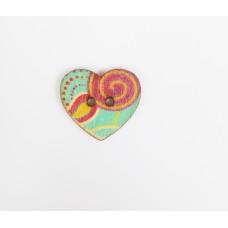 """Пуговица с двумя отверстиями декоративная дерево """"Сердце бирюзовое"""", диаметр 25 мм"""
