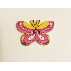 """Пуговица с двумя отверстиями декоративная дерево """"Бабочка"""", цвет розово-жёлтая"""