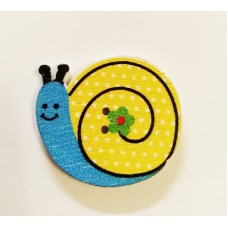 """Пуговица с двумя отверстиями декоративная дерево """"Улитка"""", цвет синий с жёлтым"""