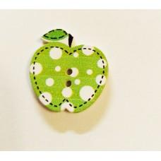 """Пуговица с двумя отверстиями декоративная дерево """"Яблочко"""", цвет зелёный"""