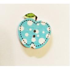 """Пуговица с двумя отверстиями декоративная дерево """"Яблочко"""", цвет голубой"""