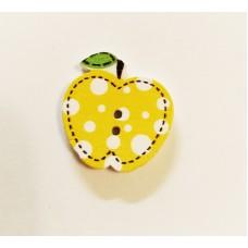 """Пуговица с двумя отверстиями декоративная дерево """"Яблочко"""", цвет жёлтый"""