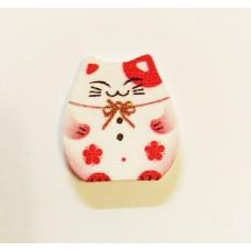 """Пуговица с двумя отверстиями декоративная дерево """"Кошка-копилка"""", цвет белый с красным"""