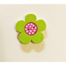 """Пуговица с двумя отверстиями декоративная дерево """"Цветок"""", цвет зеленый с розовым"""