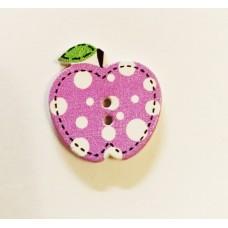 """Пуговица с двумя отверстиями декоративная дерево """"Яблочко"""", цвет сиреневый"""