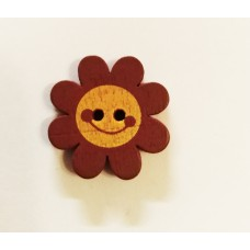 """Пуговица с двумя отверстиями декоративная дерево """"Цветок"""", цвет коричневый"""