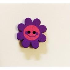 """Пуговица с двумя отверстиями декоративная дерево """"Цветок"""", цвет фиолетовый"""