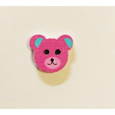 """Пуговица с двумя отверстиями декоративная дерево """"медвежонок"""", цвет розовый"""
