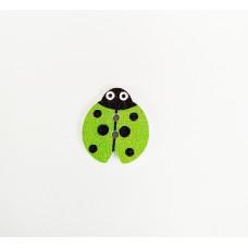 """Пуговица с двумя отверстиями декоративная дерево """"Божья коровка"""", цвет зеленый"""