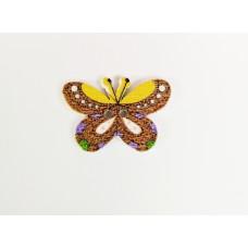 """Пуговица с двумя отверстиями декоративная дерево """"Бабочка"""", цвет коричневый с желтым"""