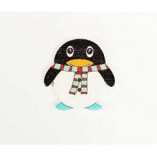 """Пуговица с двумя отверстиями декоративная дерево """"Пингвин с полосатым шарфиком"""""""