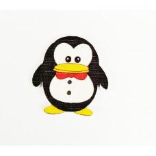 """Пуговица с двумя отверстиями декоративная дерево """"Пингвин с красной бабочкой"""""""