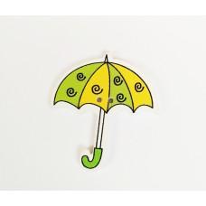 """Пуговица с двумя отверстиями декоративная дерево """"Зонтик с сердечками"""", цвет желто-зеленый"""