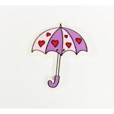 """Пуговица с двумя отверстиями декоративная дерево """"Зонтик с сердечками"""", цвет фиолетовый с розовым"""