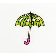 """Пуговица с двумя отверстиями декоративная дерево """"Зонтик с сердечками"""", цвет зеленый"""