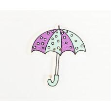 """Пуговица с двумя отверстиями декоративная дерево """"Зонтик с сердечками"""", цвет фиолетовый с бирюзовым"""