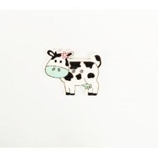 """Пуговица с двумя отверстиями декоративная дерево """"корова"""", цвет белый с бирюзовым"""