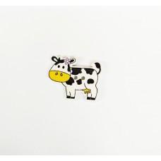 """Пуговица с двумя отверстиями декоративная дерево """"корова"""", цвет белый с жёлтым"""