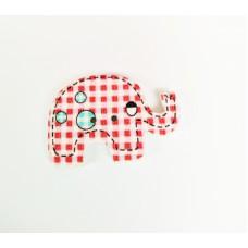 """Пуговица с двумя отверстиями декоративная дерево """"Слон"""", цвет красная клетка"""