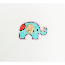 """Пуговица с двумя отверстиями декоративная дерево """"Слон"""", цвет голубой"""