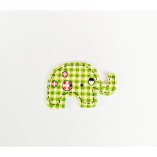 """Пуговица с двумя отверстиями декоративная дерево """"Слон"""", цвет зелёная клетка"""