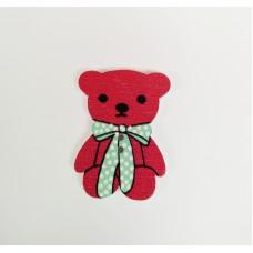 """Пуговица с двумя отверстиями декоративная дерево """"Медвежонок с бантиком"""", цвет бордовый"""