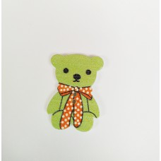 """Пуговица с двумя отверстиями декоративная дерево """"Медвежонок с бантиком"""", цвет зеленый"""