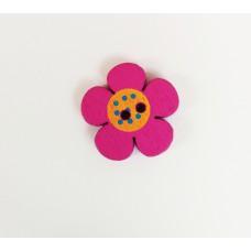 """Пуговица с двумя отверстиями декоративная дерево """"Цветок"""", цвет малиновый с оранжевой серединкой"""