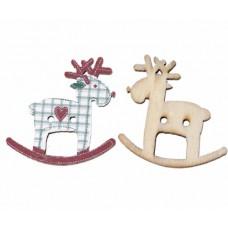 """Пуговица с двумя отверстиями декоративная дерево """"Рождественский олень"""", р-р 29x28 мм"""