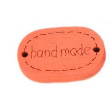 Деревянная пуговица-Ярлык Handmade овальная 19x12 мм (цвет оранжевый)