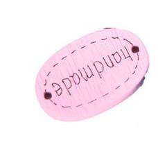 Деревянная пуговица-Ярлык Handmade овальная 19x12 мм (цвет розовый)