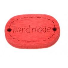 Деревянная пуговица-Ярлык Handmade овальная 19x12 мм (цвет красный)