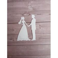 """Вырубка """"Жених и невеста"""" 6.2x4.5 см. Цвет белый."""