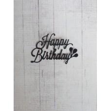 "Вырубка ""Надпись Happy Birthday"" 6,5х5. Цвет черный."