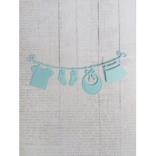 """Вырубка """"Детская подвеска с одеждой"""" 11.2 * 4.6 см. Цвет голубой."""