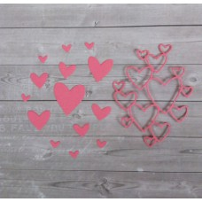 """Набор вырубки """"Сердечки"""" 13 элементов. Цвет розовый"""