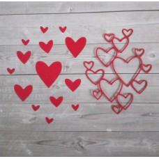 """Набор вырубки """"Сердечки"""" 13 элементов. Цвет красный"""