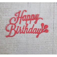 """Вырубка """"Надпись Happy Birthday"""" 6,5х5. Цвет розовый"""