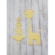"""Набор вырубки """"Совы и жираф"""" 2 элемента, цвет светло-желтый."""