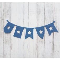 """Вырубка """"Детская подвеска флажки со звездами"""" 10 * 3 см. Цвет синий."""
