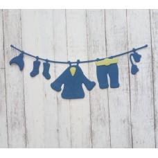 """Вырубка """"Детская подвеска зимняя одежда"""" 11.2 * 4.2 см. Цвет синий."""