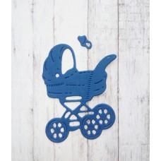 """Вырубка """"Детская коляска с соской"""" 3.6 * 5 см. Цвет синий."""
