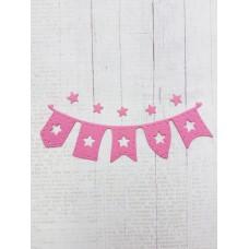 """Вырубка """"Детская подвеска флажки со звездами"""" 10 * 3 см. Цвет ярко розовый."""