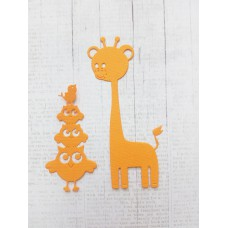 """Набор вырубки """"Совы и жираф"""" 2 элемента, цвет оранжевый."""