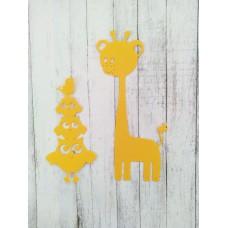 """Набор вырубки """"Совы и жираф"""" 2 элемента, цвет ярко-желтый"""