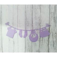 """Вырубка """"Детская подвеска с одеждой"""" 11.2 * 4.6 см. Цвет сиреневый"""
