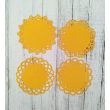 Набор салфеток 4 элемента d=4,5 см. Цвет желтый