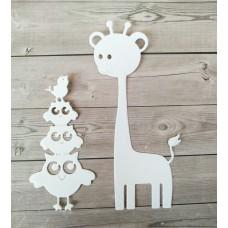 """Набор вырубки """"Совы и жираф"""" 2 элемента, цвет белый"""