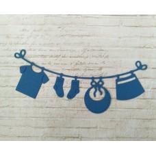 """Вырубка """"Детская подвеска с одеждой"""" 11.2 * 4.6 см. Цвет синий"""