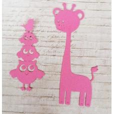 """Набор вырубки """"Совы и жираф"""" 2 элемента, цвет фуксия"""